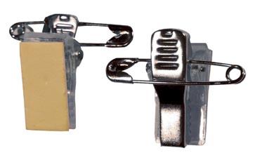 Badgy kleefbare clips met veiligheidspin, pak van 100 stuks