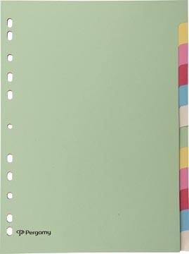 Pergamy tabbladen ft A4, 11-gaatsperforatie, karton, geassorteerde pastelkleuren, 12 tabs